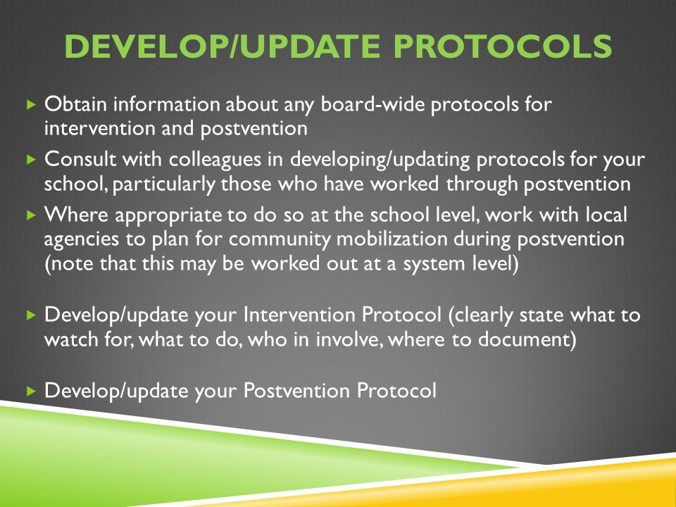 Develop/update protocols