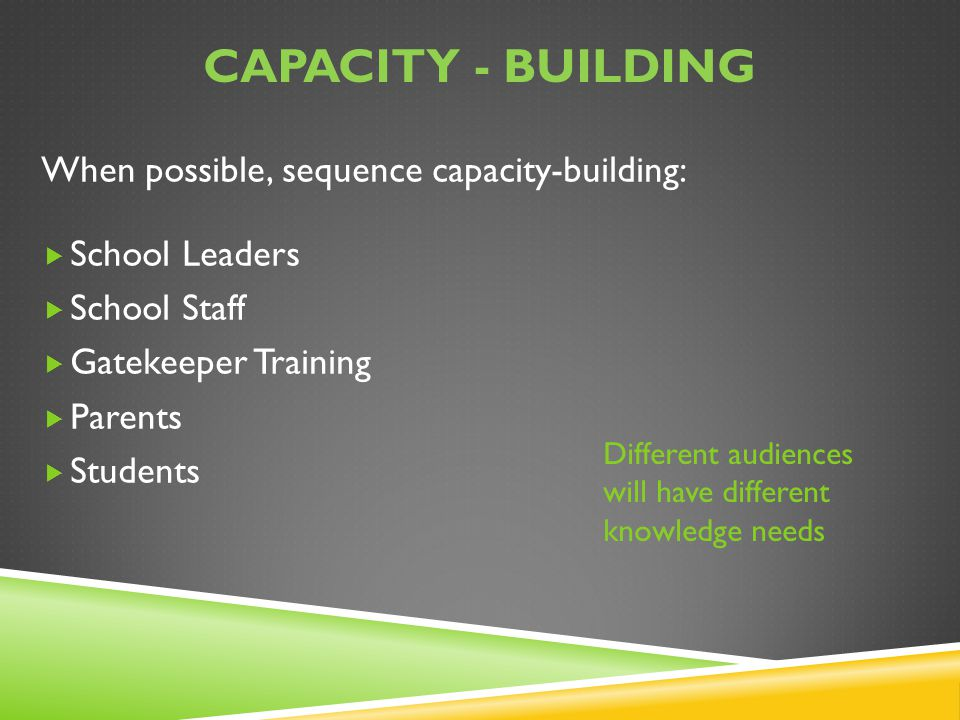 Capacity - building When possible, sequence capacity-building: