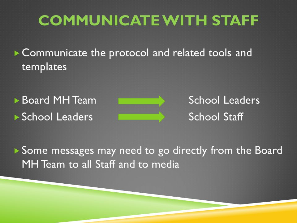 Communicate with staff