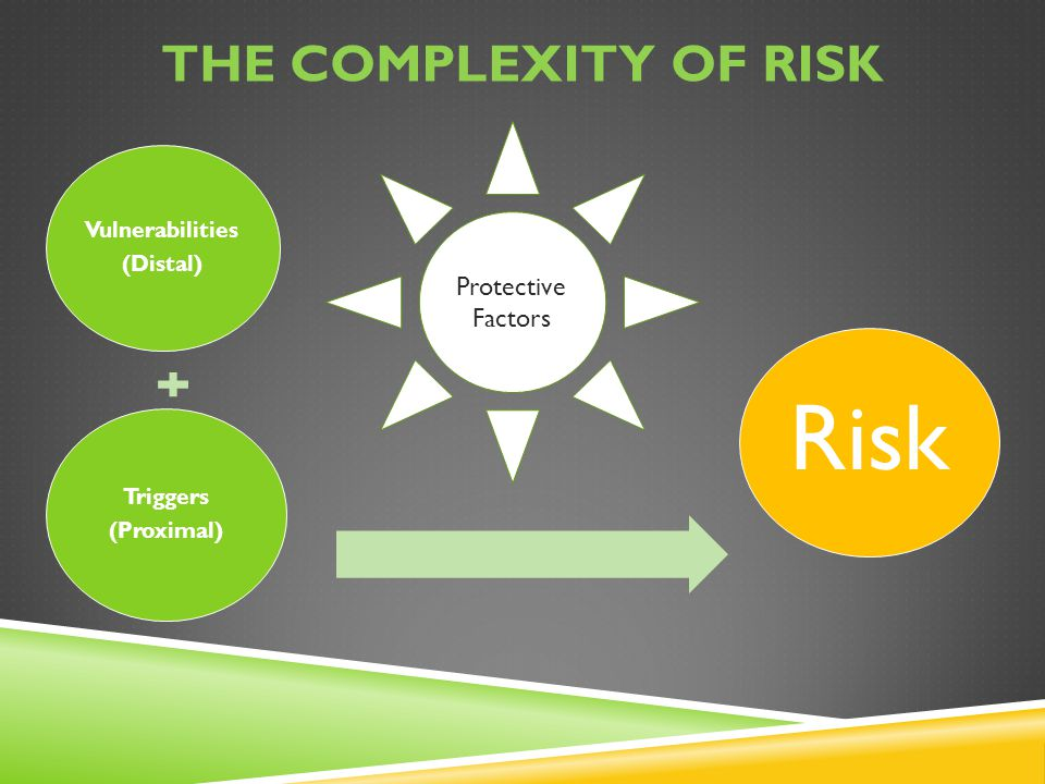 Risk The complexity of Risk Protective Factors Vulnerabilities