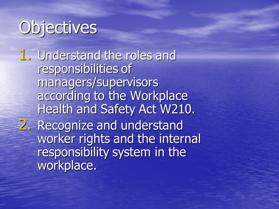 Objectives Understand the roles and responsibilities of managers/supervisors according to the Workplace Health and Safety Act W210.