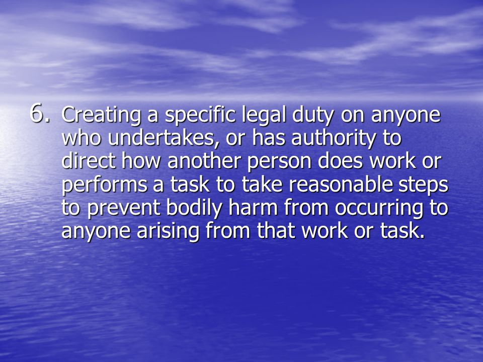 Creating a specific legal duty on anyone who undertakes, or has authority to direct how another person does work or performs a task to take reasonable steps to prevent bodily harm from occurring to anyone arising from that work or task.