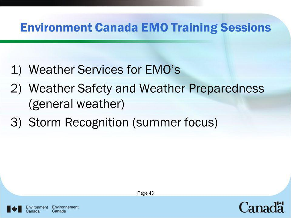 Environment Canada EMO Training Sessions