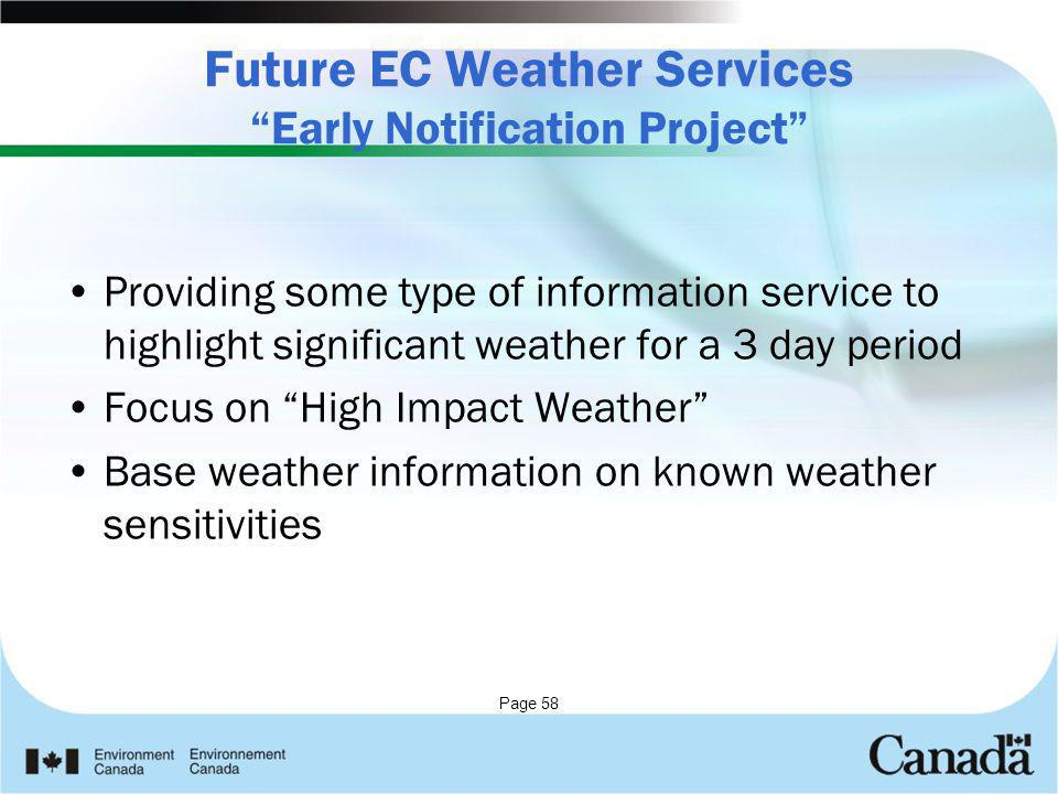 Future EC Weather Services Early Notification Project