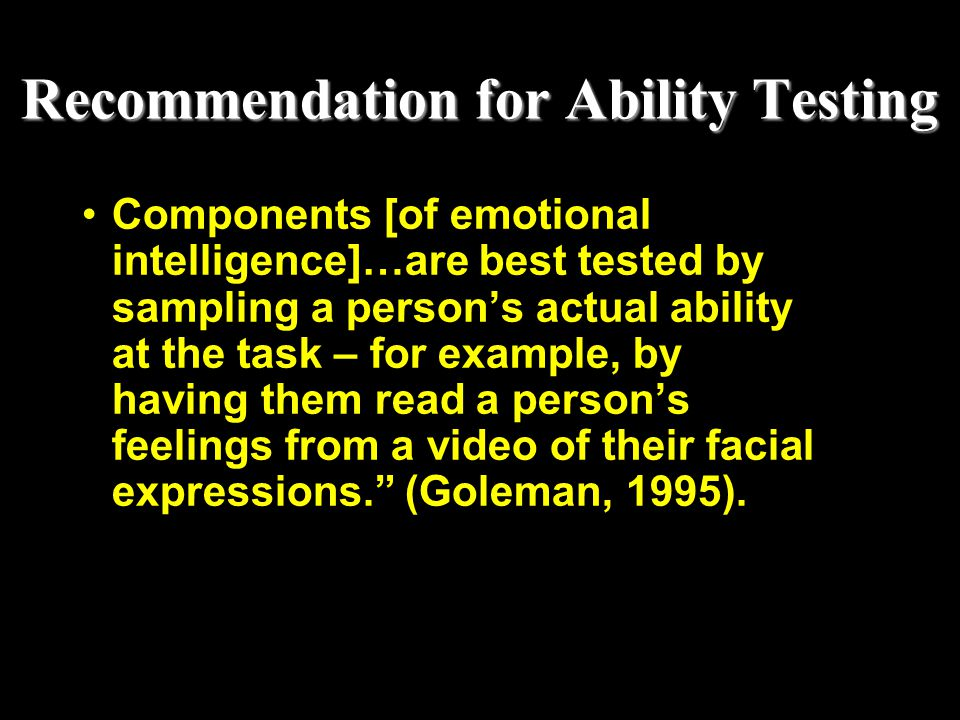 Recommendation for Ability Testing