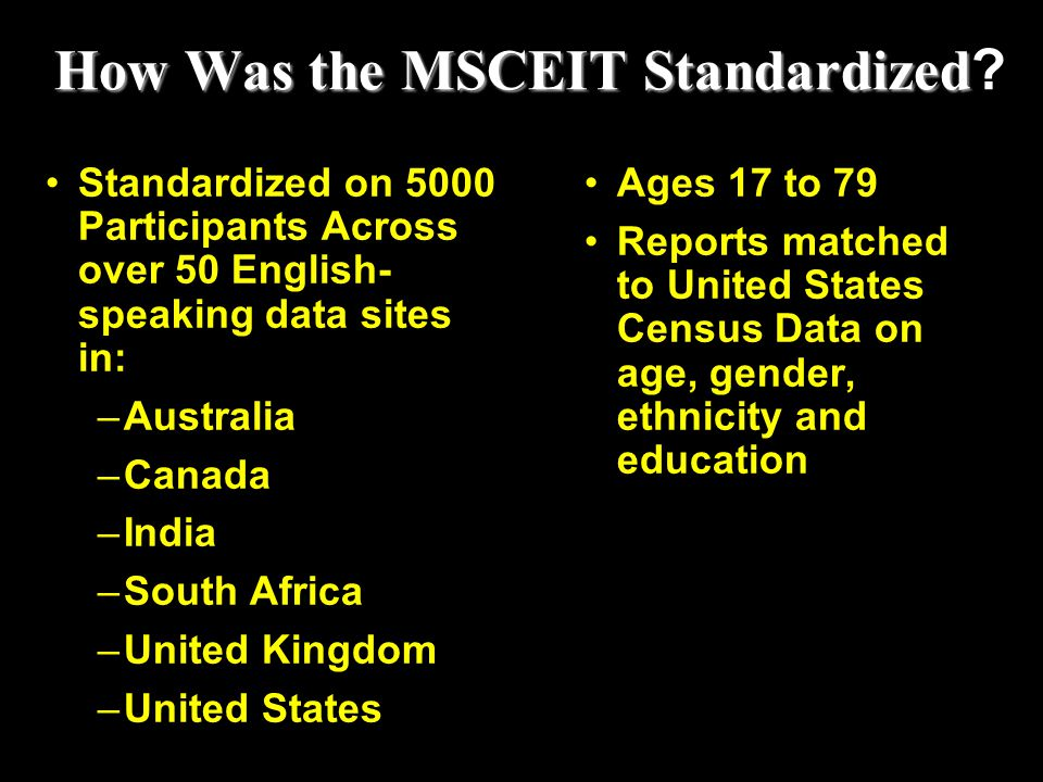 How Was the MSCEIT Standardized