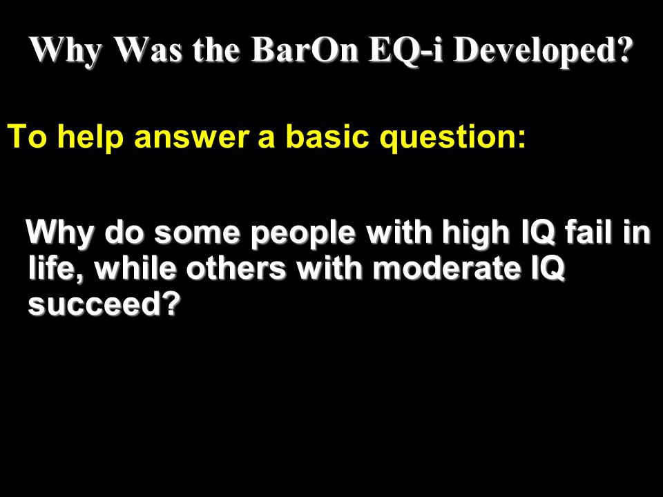 Why Was the BarOn EQ-i Developed