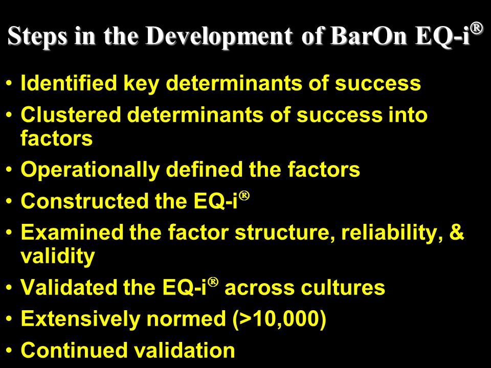 Steps in the Development of BarOn EQ-i