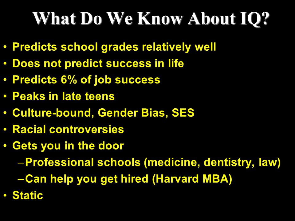 What Do We Know About IQ Predicts school grades relatively well