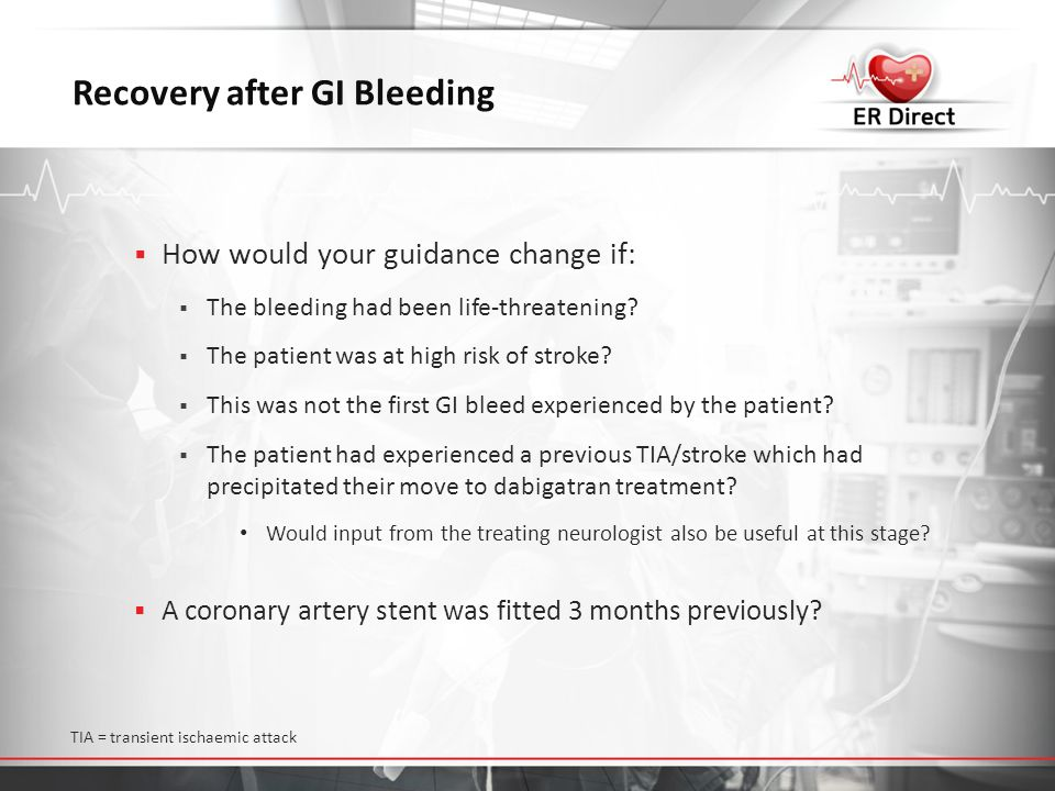 Recovery after GI Bleeding