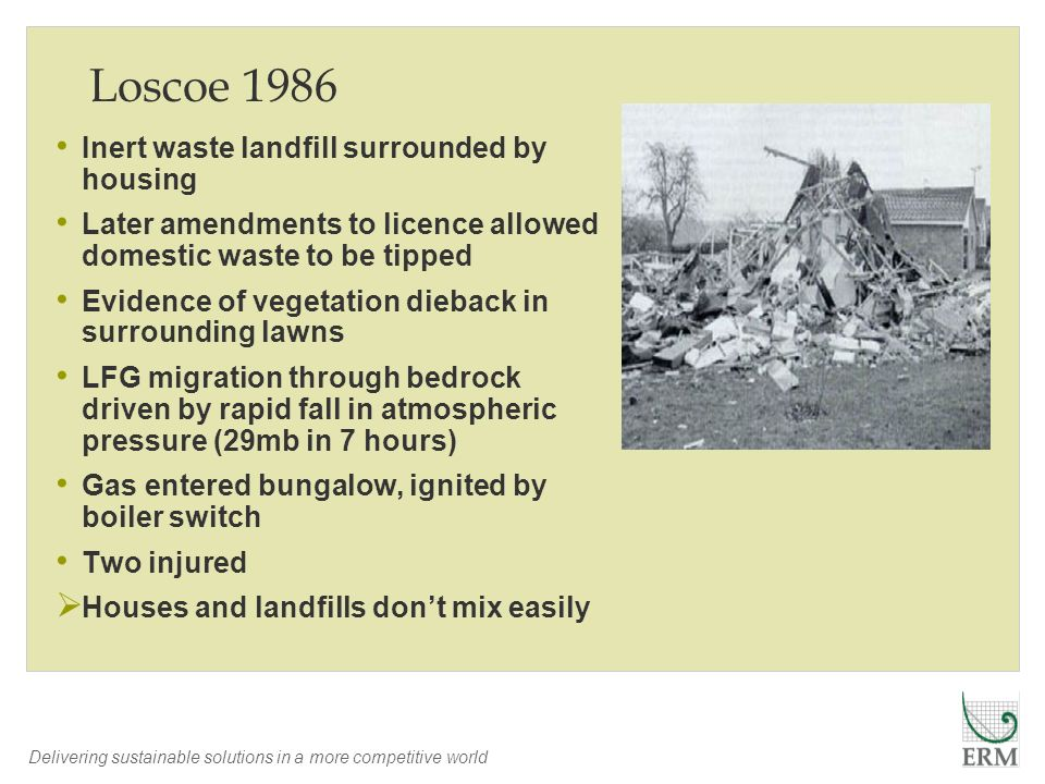 Loscoe 1986 Inert waste landfill surrounded by housing