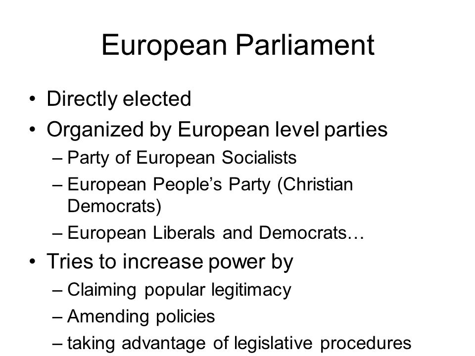 European Parliament Directly elected