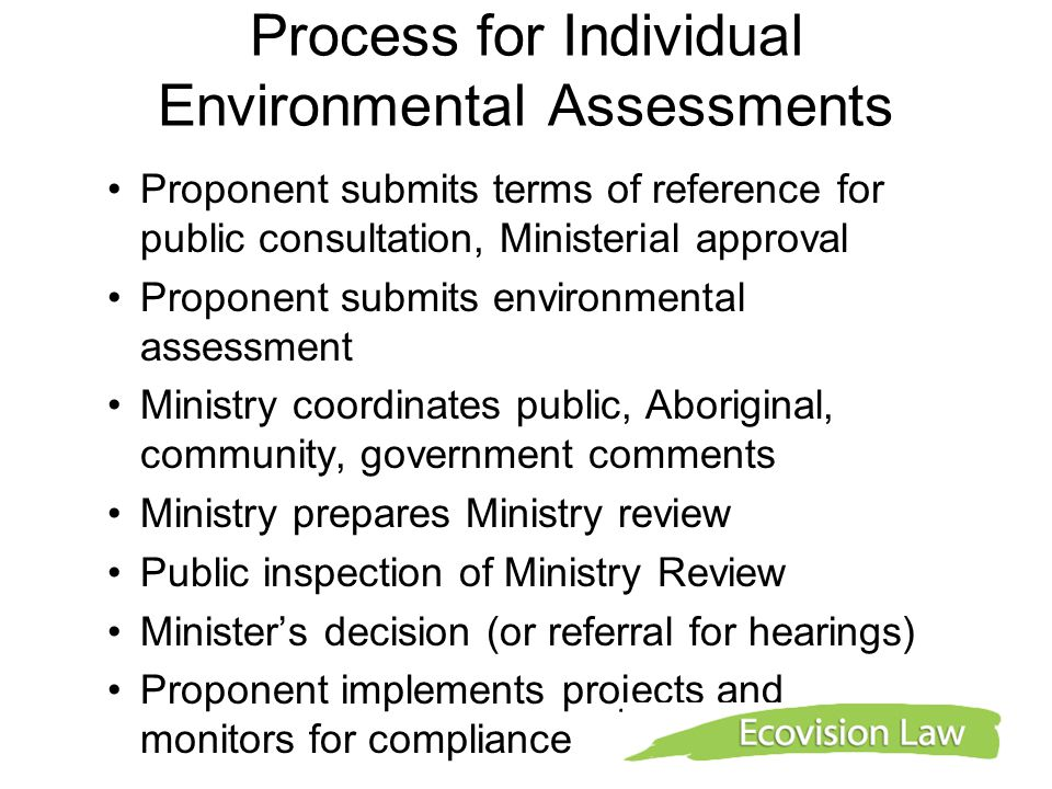 Process for Individual Environmental Assessments