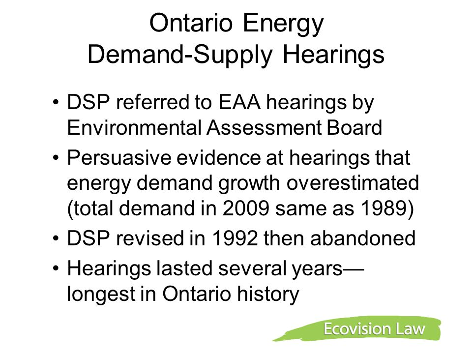 Ontario Energy Demand-Supply Hearings