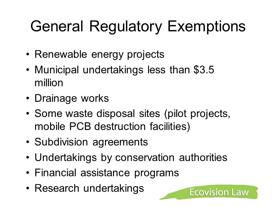 General Regulatory Exemptions