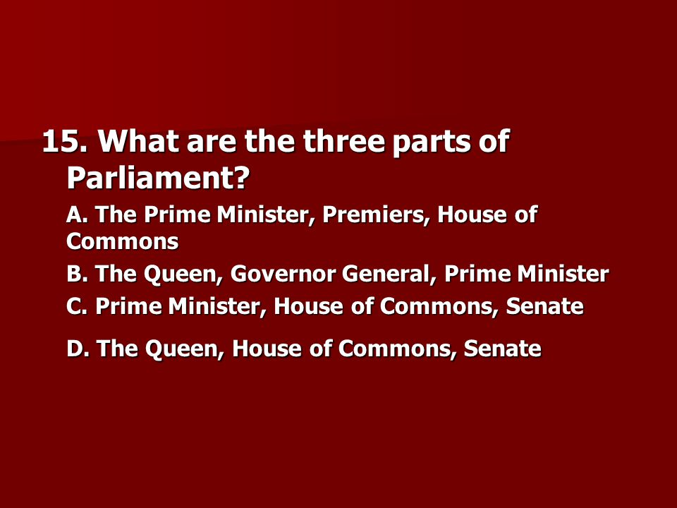 15. What are the three parts of Parliament