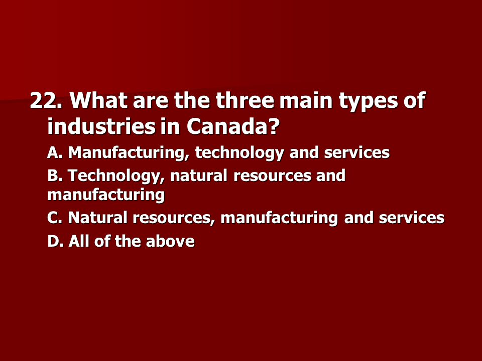 22. What are the three main types of industries in Canada