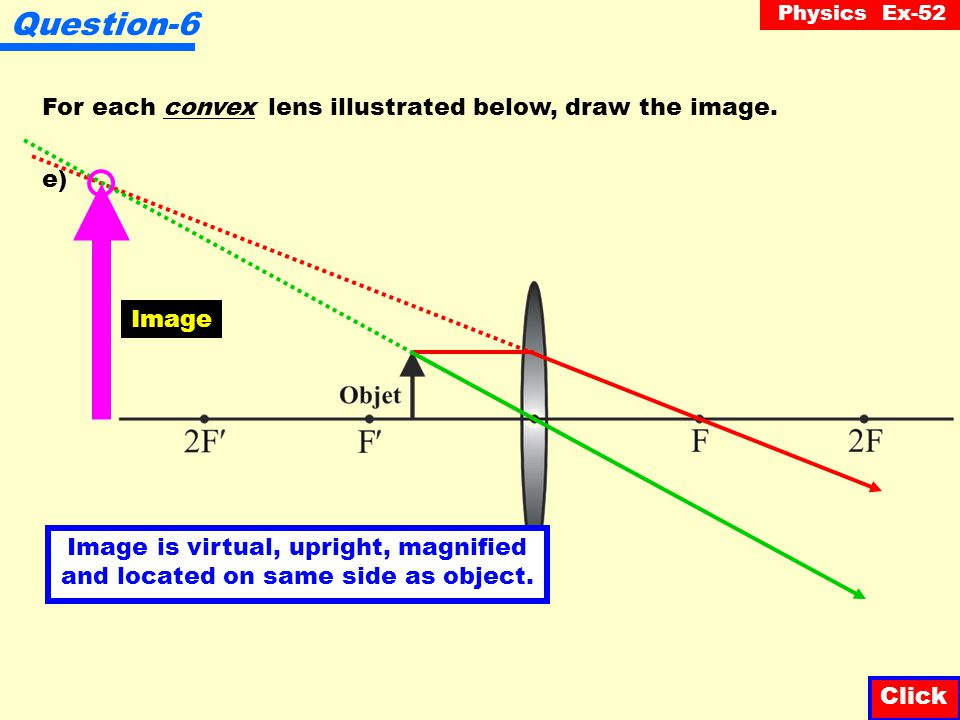 Question-6 For each convex lens illustrated below, draw the image. e)