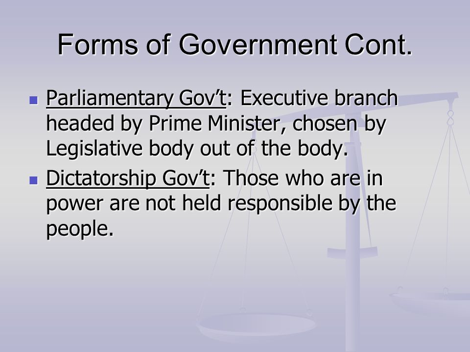 Forms of Government Cont.