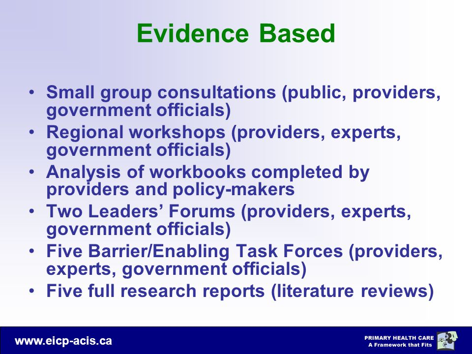 Evidence Based Small group consultations (public, providers, government officials) Regional workshops (providers, experts, government officials)
