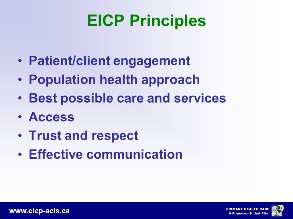 EICP Principles Patient/client engagement Population health approach