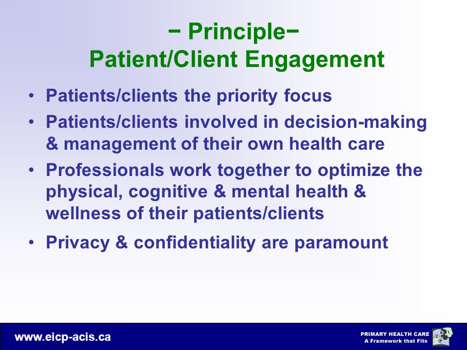 − Principle− Patient/Client Engagement
