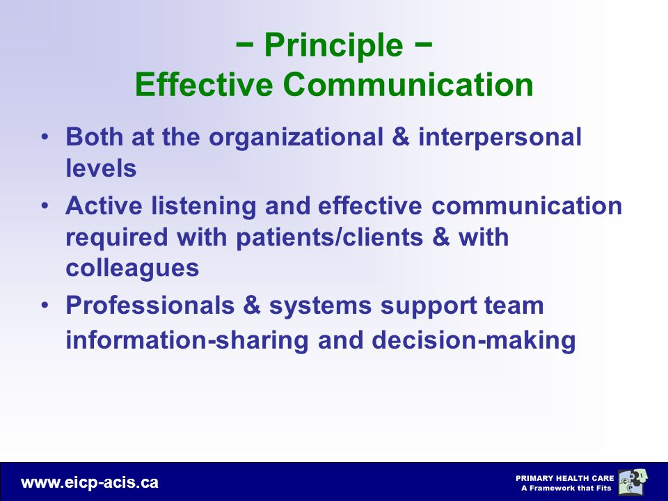− Principle − Effective Communication
