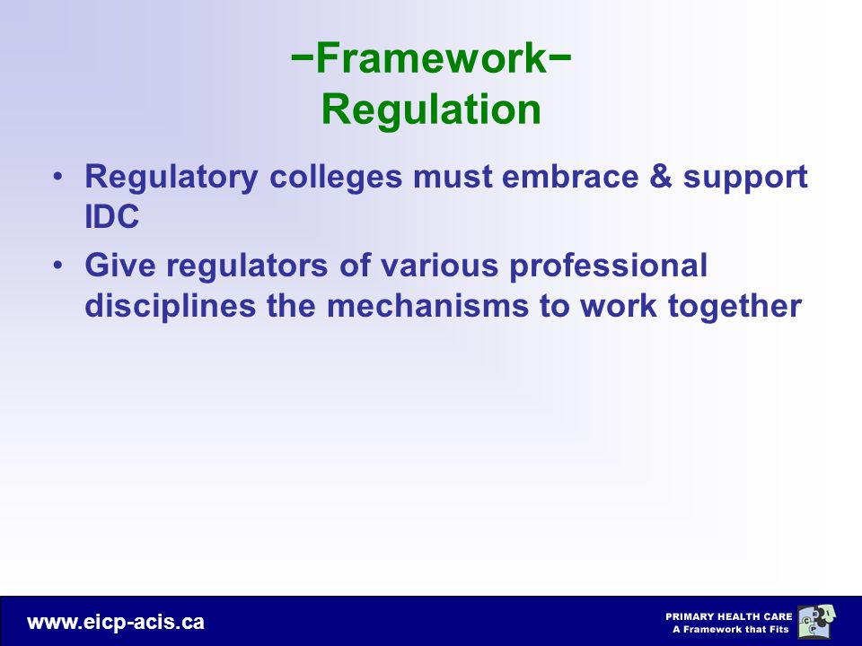−Framework− Regulation