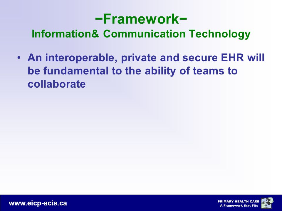 −Framework− Information& Communication Technology