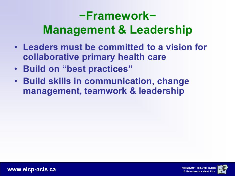 −Framework− Management & Leadership