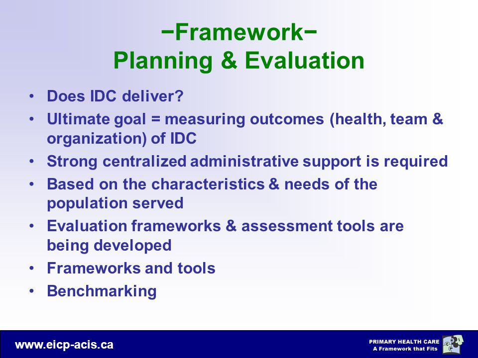 −Framework− Planning & Evaluation