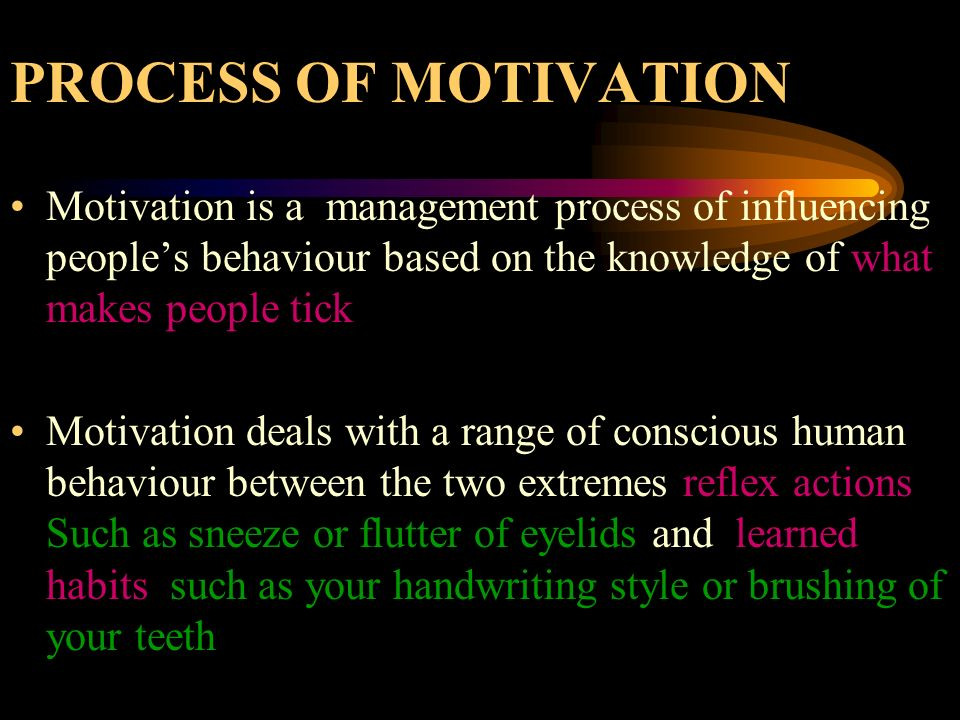 PROCESS OF MOTIVATION Motivation is a management process of influencing people's behaviour based on the knowledge of what makes people tick.