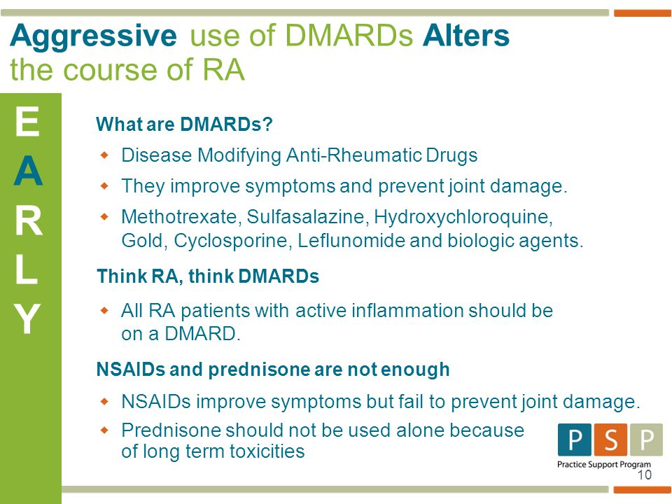 Aggressive use of DMARDs Alters the course of RA