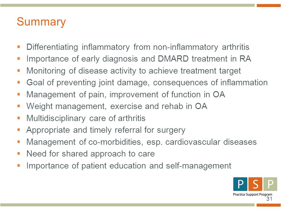 Summary Differentiating inflammatory from non-inflammatory arthritis