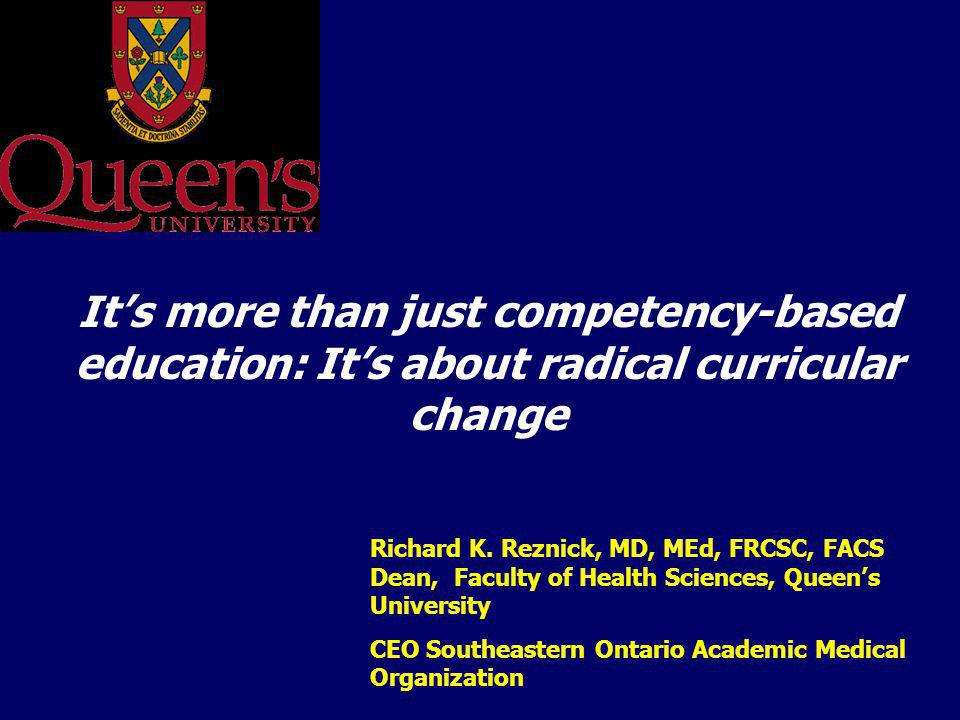 It's more than just competency-based education: It's about radical curricular change