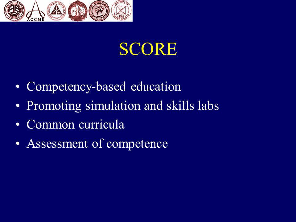 SCORE Competency-based education Promoting simulation and skills labs