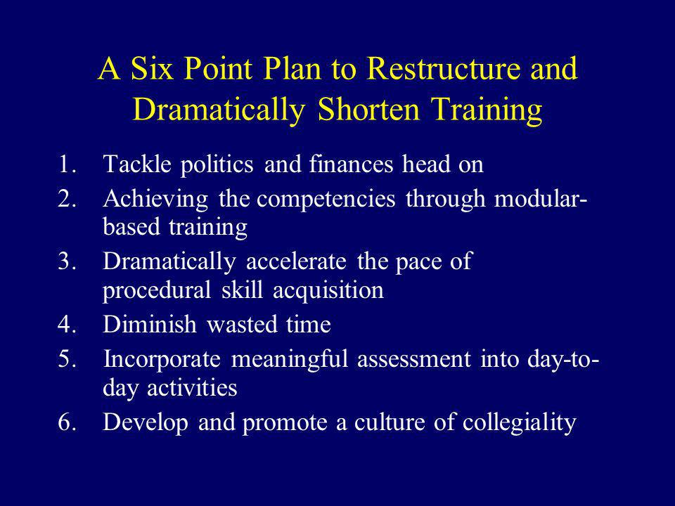 A Six Point Plan to Restructure and Dramatically Shorten Training