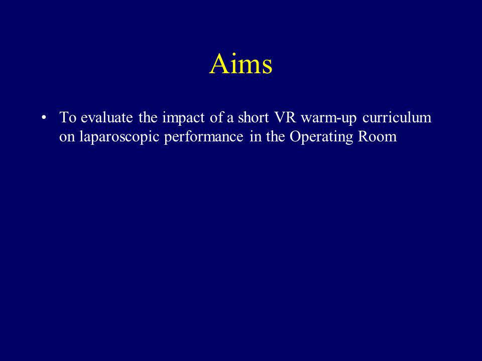 Aims To evaluate the impact of a short VR warm-up curriculum on laparoscopic performance in the Operating Room.