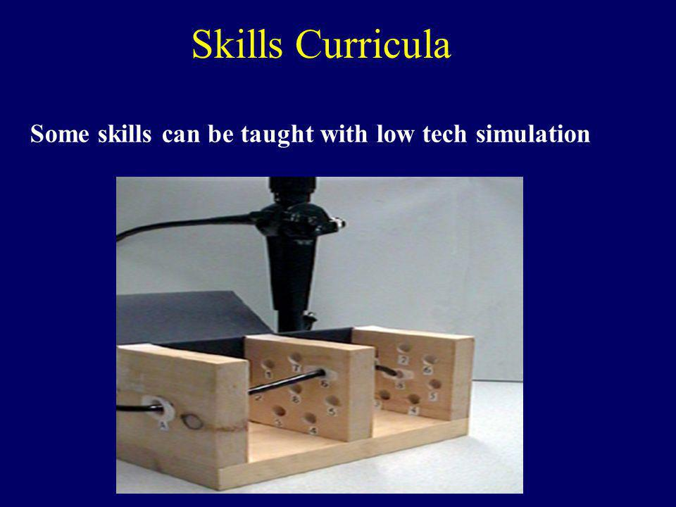 Skills Curricula Some skills can be taught with low tech simulation