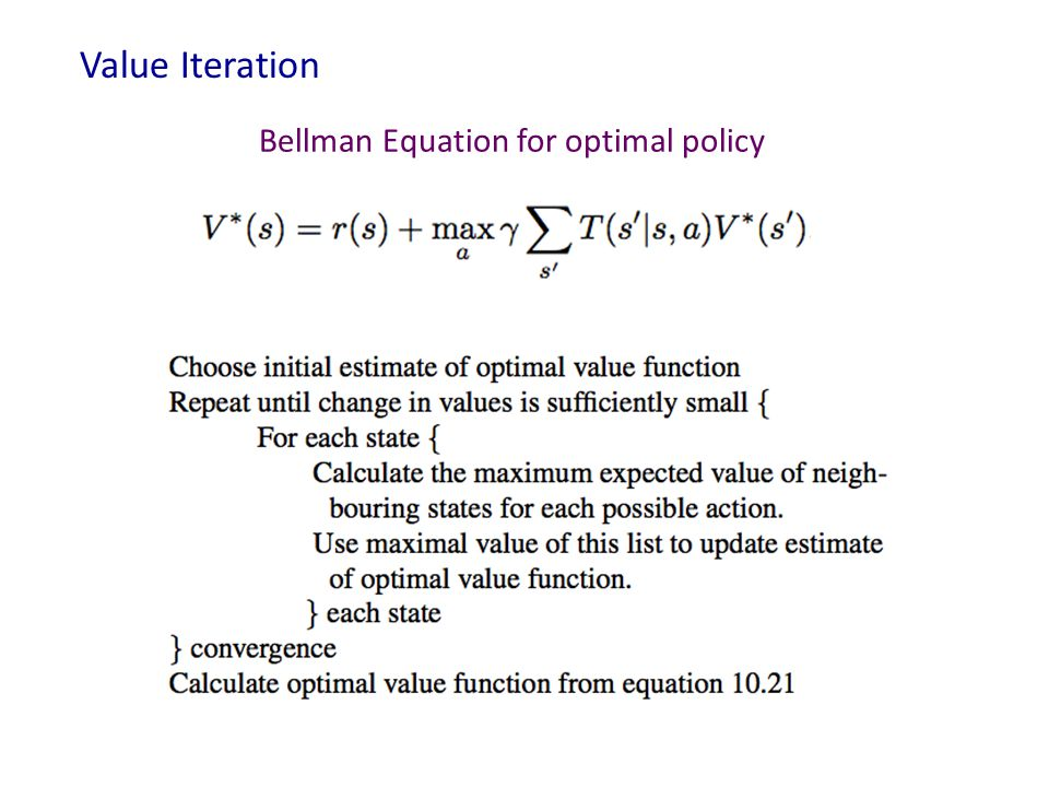Value Iteration Bellman Equation for optimal policy