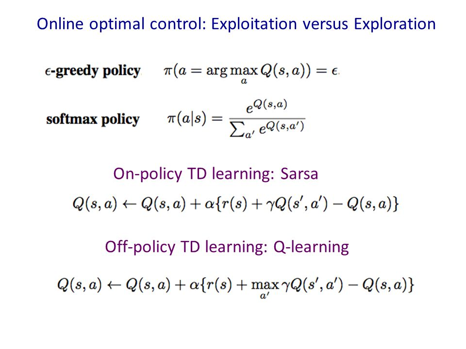 Online optimal control: Exploitation versus Exploration