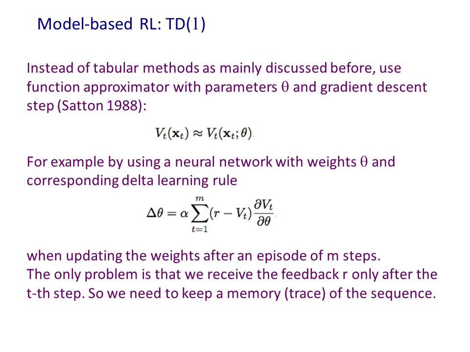 Model-based RL: TD(1)