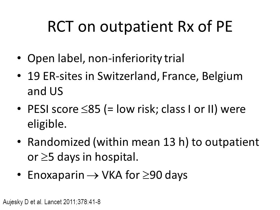 RCT on outpatient Rx of PE
