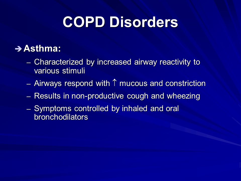 COPD Disorders Asthma: