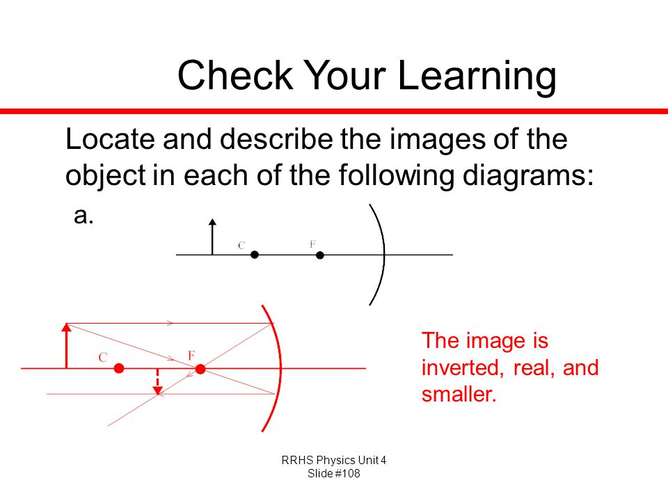 Check Your Learning Locate and describe the images of the object in each of the following diagrams: