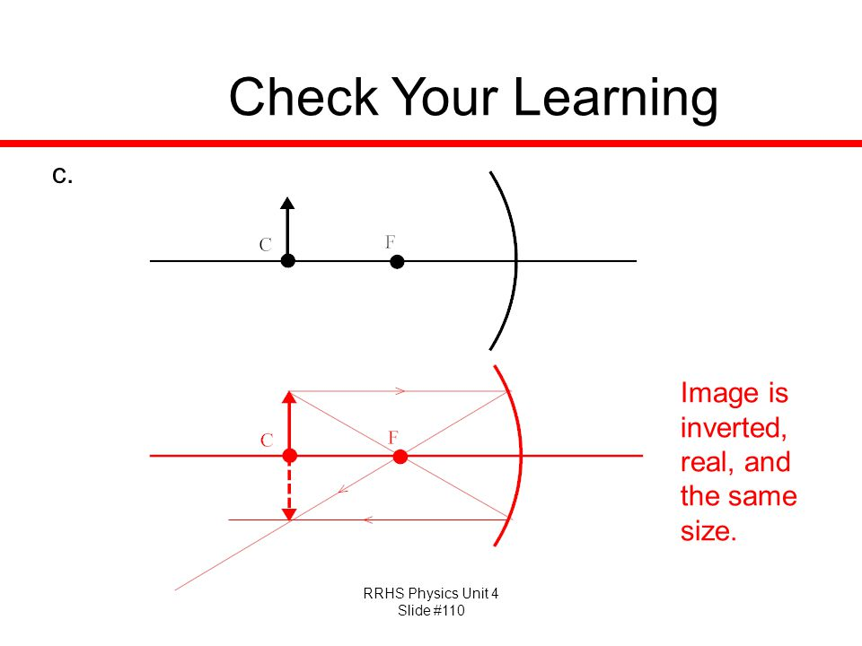 Check Your Learning Image is inverted, real, and the same size.