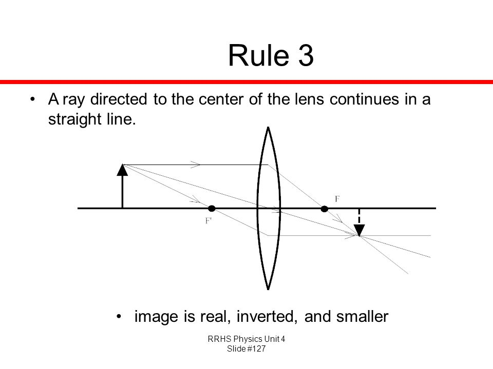 Rule 3 A ray directed to the center of the lens continues in a straight line.