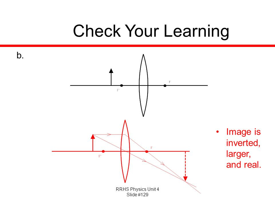 Check Your Learning Image is inverted, larger, and real.