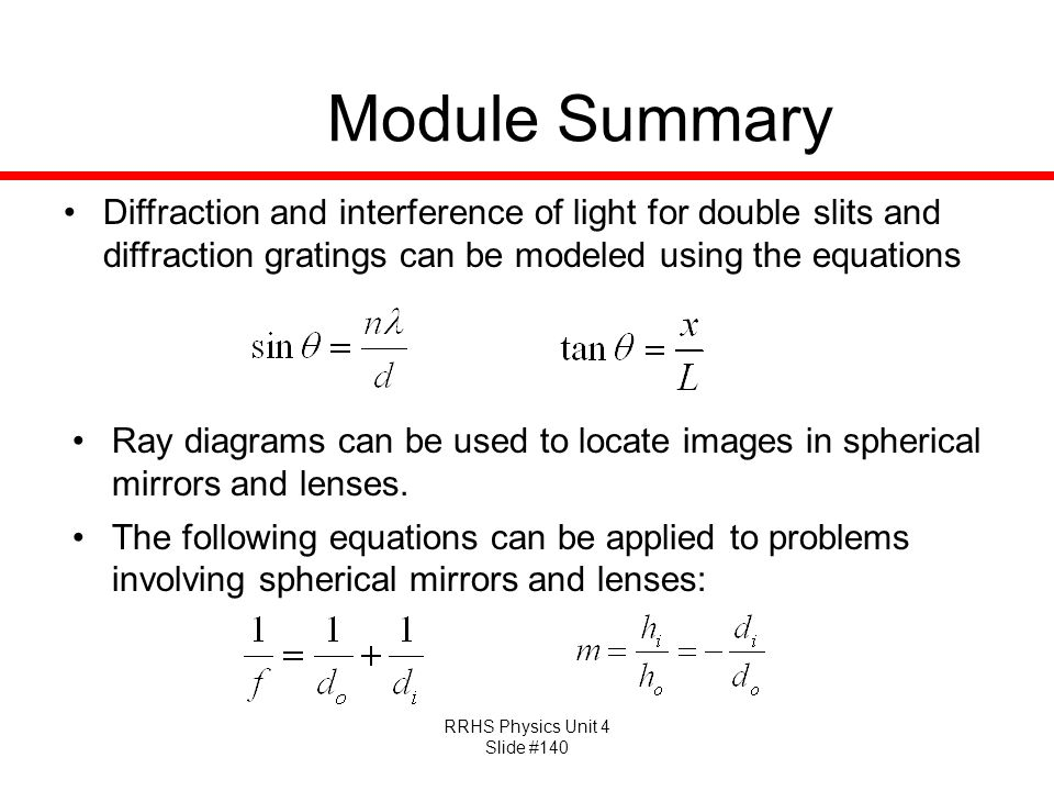 Module Summary Diffraction and interference of light for double slits and diffraction gratings can be modeled using the equations.