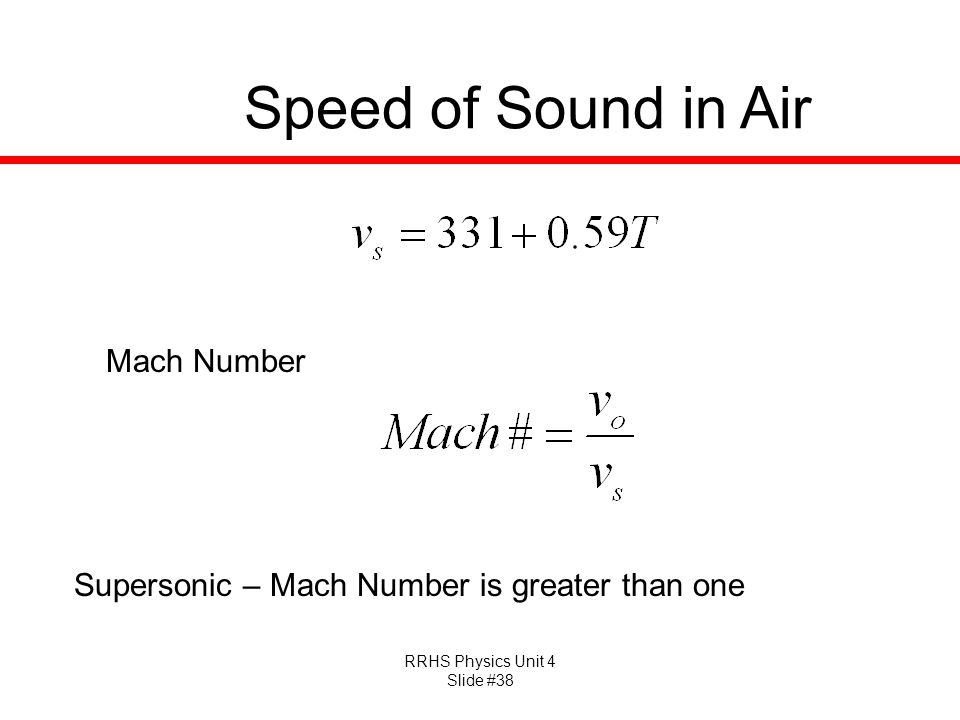 Speed of Sound in Air Mach Number